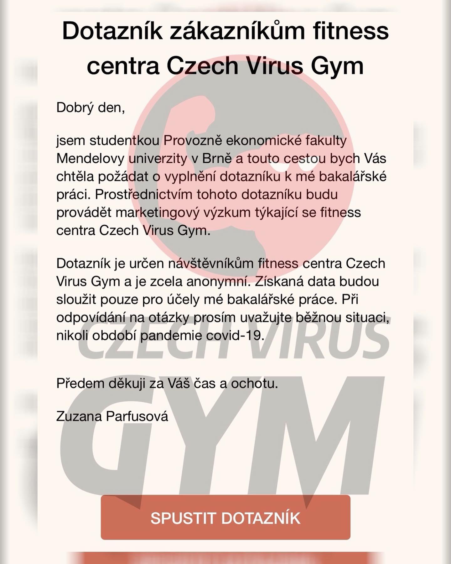 dotazní czech virus gym fitko posilka brno